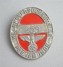 WWII German Rocket Facility Peenemunde Alloy Lapel Badge for team leaders, inspectors, technicians at the Peenemunde Works,