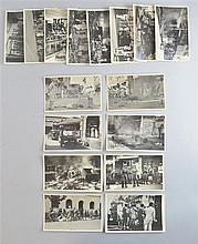 Set of 14 post cards depicting war scenes in India in World War II (some graphic)