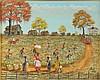 Almarie Little, oil on board of figures harvesting cotton, framed, Almarie P. Little, Click for value