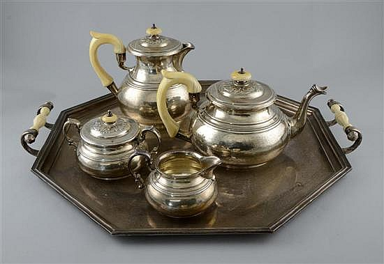 George V five piece silver tea service
