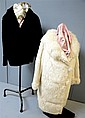 Black beaver jacket circa 1930's and a 1950s white fur coat