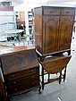 Early 20th century mahogany bureau, cabinet and a table