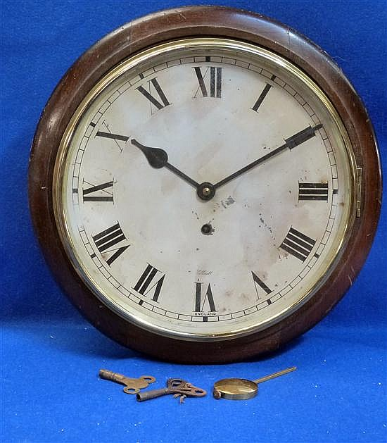 19th century mahogany cased wall hanging clock by Elliott with single train movement,