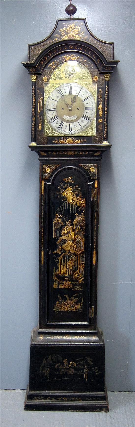 18th century eight day Japanned longcase clock by James Whitworth Lussley,