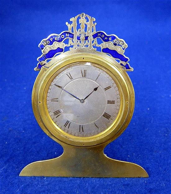 19th century brass and enamelled strut clock,