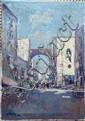 A Porta, 'Busy Italian Street'. oil on canvas, unframed