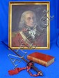 Major Armitage C Swayne of XXXIII regiment, 18th century portrait, together with his small sword and copy of The Army List 1780,