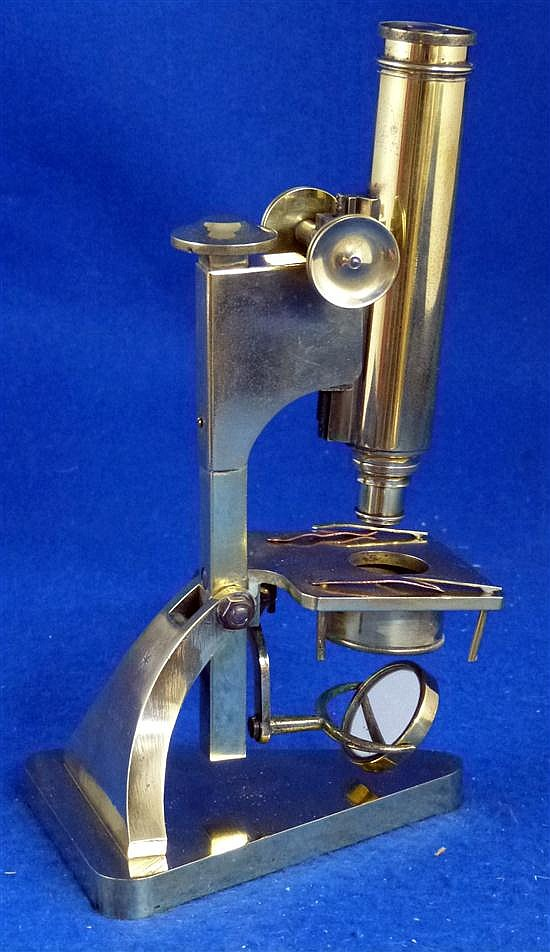 R J Beck brass microscope, marked for London with number 25696