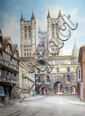 Albert H Findley, Lincoln Cathedral signed watercolour