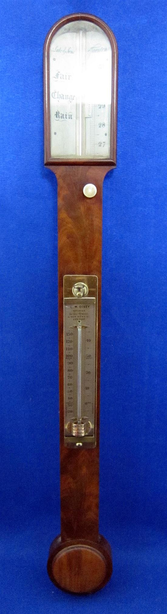 19th century mahogany cased stick barometer by Lake & Son, Taunton,