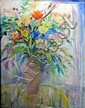 Geoffrey Robert Proud - still life with vase of flowers, signed and dated '84, coloured chalks and gouache on paper