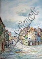 M Glass, water-colour, street scene with figures, signed, 14