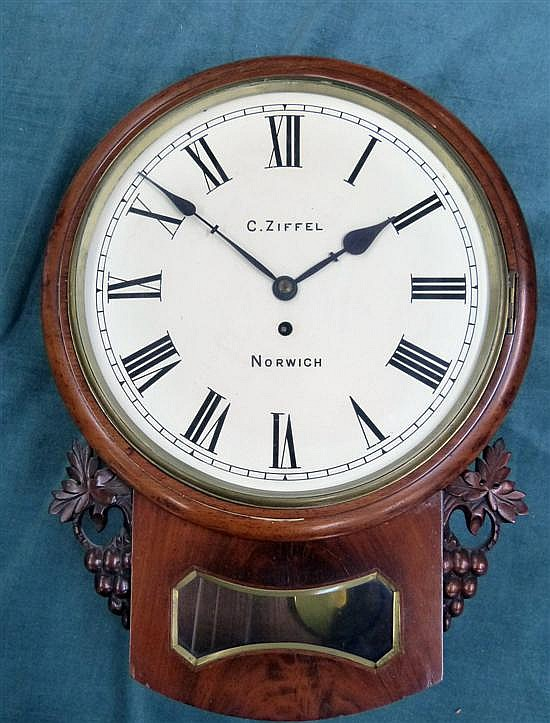 William IV mahogany cased wall clock by C Ziffel of Norwich,