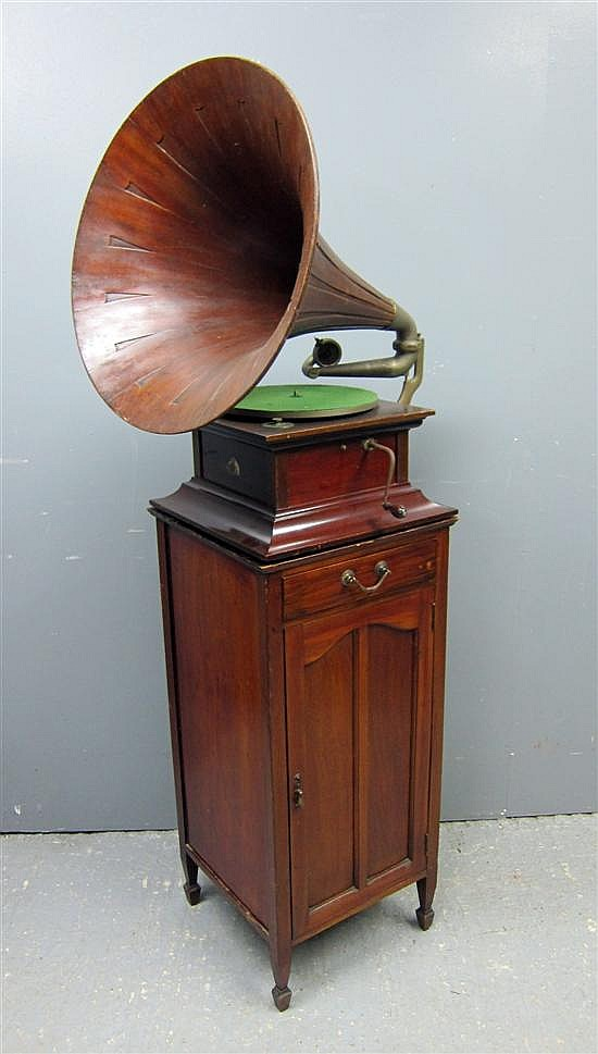 HMV mahogany cased gramophone and mahogany stand with drawer and cupboard door on square tapering legs