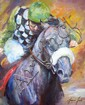 Oil on canvas of a horse and jockey indistinctly signed