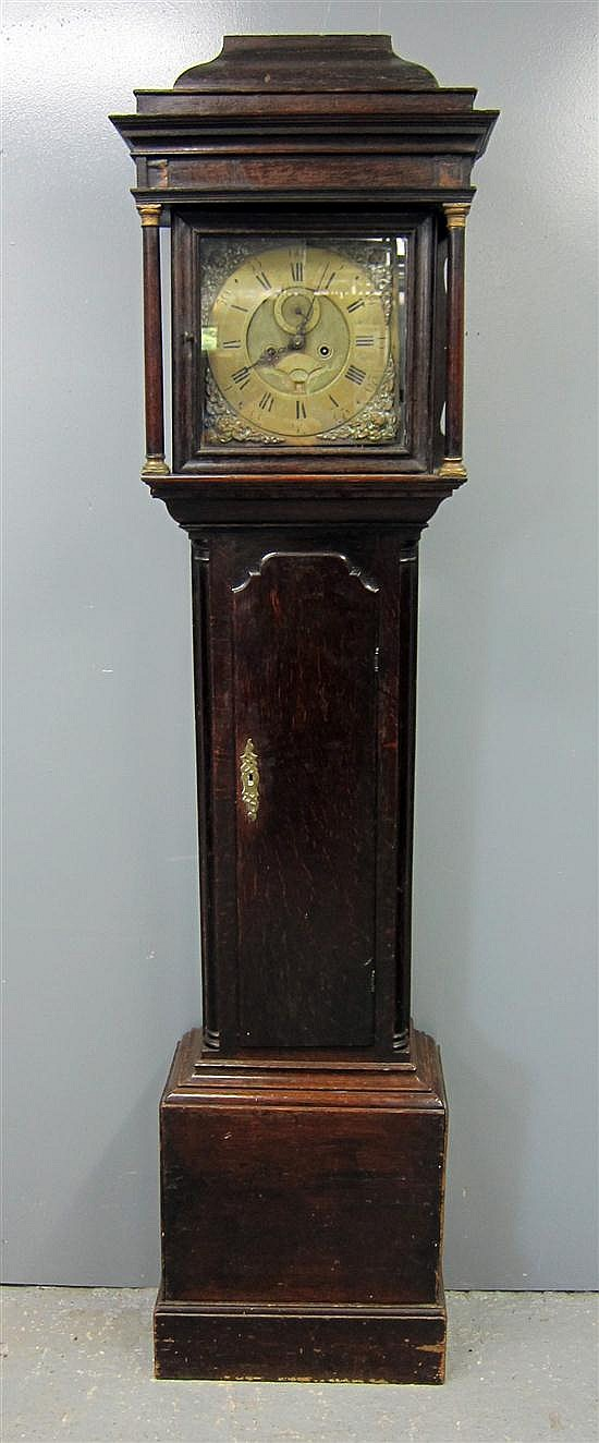 18th century oak eight day long case clock by Josiah Stringer of Stockport