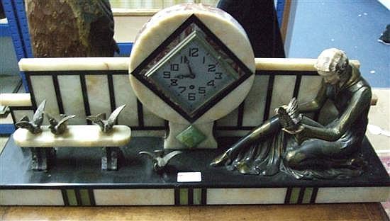 Art Deco style marble mantel clock,