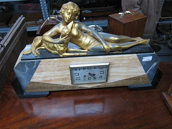 Art Deco marble mantel clock,