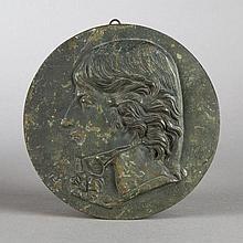 After David d'Angers. Portrait of Saint-Just, bronze medallion
