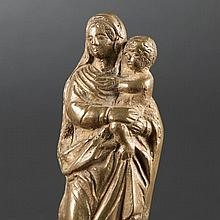 Small Virgin and Child in bronze, 17th Century