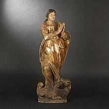 Saint Margaret in carved wood, 17th-18th Century