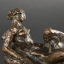 Marcel Bouraine. Femme nue alongee, bronze