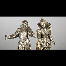 French School, 19th Century. The pretender and his suitor in silvered bronze, sculpture