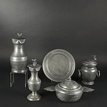 Five pewter objects in the 18th Century Style