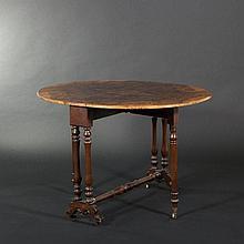 Burr walnut-veneered table with drop leafs ,19th Century