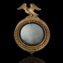 Convex carved wood mirror. England, 19th Century