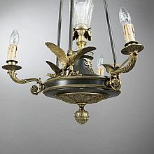 Bronze hanging light with three light branches, Empire Style
