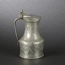 Pewter pitcher with mid-section. Saint Lo, 18th Century