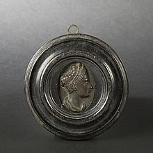 Bronze medal ornated with a female profile, 18th - 19th Century