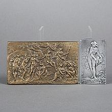 Marie Alexandre Coudray. Autumn, silver plaque and Diana and her nymphs, bronze plaque.