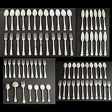 Puiforcat. Sterling silver flatware set, Rat Tail pattern