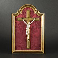 Crucifix painting with ivory Christ, 17th Century
