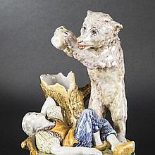 The Bear and the Gardener, earthenware, 19th-20th Century