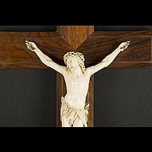 Crucifix with ivory Christ, 19th - 20th Century