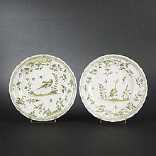 Moustiers. Two bird plates, 18th Century