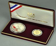 1988 Olympic Proof Silver Dollar & $5.00 Gold Coin