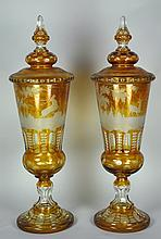 Pair Bohemian Crystal Lidded Urns