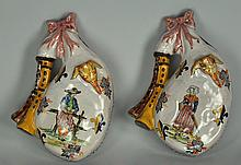 Pair Quimper Faience Wall Pockets
