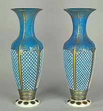Pair of Moser/Bohemian Mantle Vases