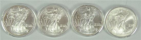 Four Nice BU Silver Eagles