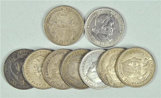 Nine 1893 Columbian Exposition Silver Commemorative Coins