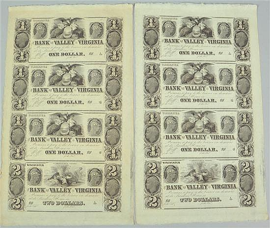 Two Very Scarce Sheets of Excellent Crisp Uncirculated Notes from the Bank of the Valley in Winchester, Virginia