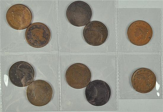 Group of Ten Obsolete Large Cents