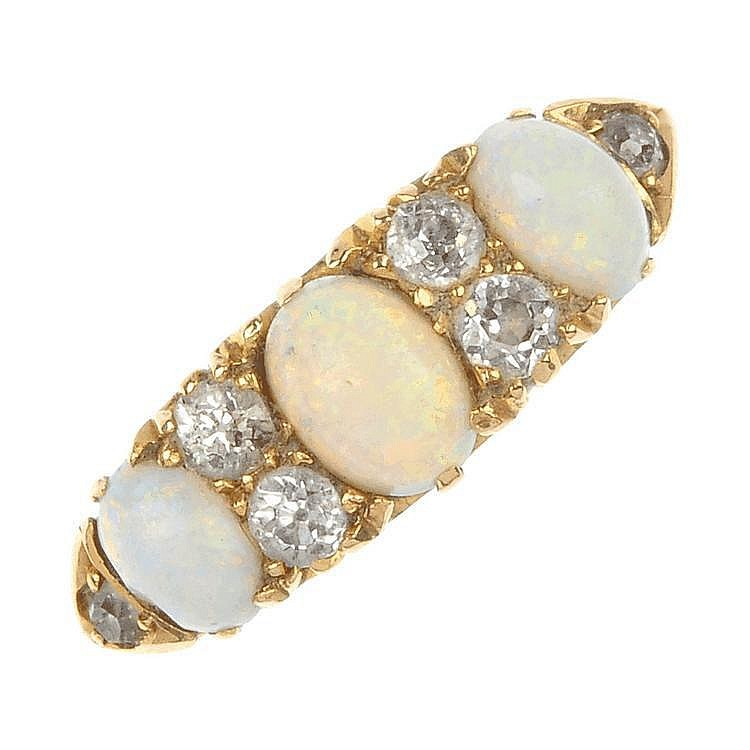 A late Victorian 18ct gold opal and diamond dress ring.