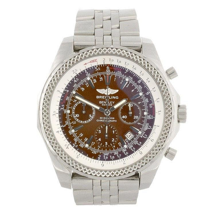A stainless steel automatic chronograph gentleman's Breitling for Bentley Motors bracelet watch.