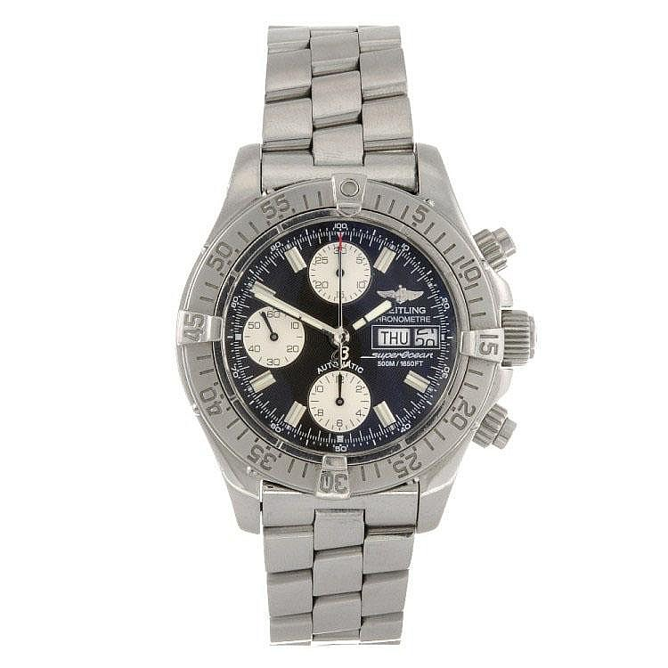 A stainless steel automatic gentleman's Breitling Superocean bracelet watch.